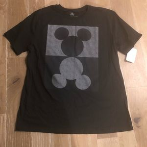 Mens Black Mickey Mouse Graphic Tee L NWT Op Art